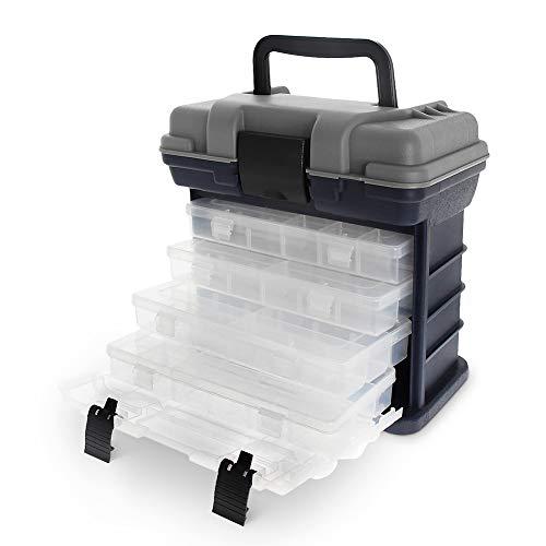 Croch Angelkoffer mit 4 Aufbewarhungsbox für Angelzubehör und Köder