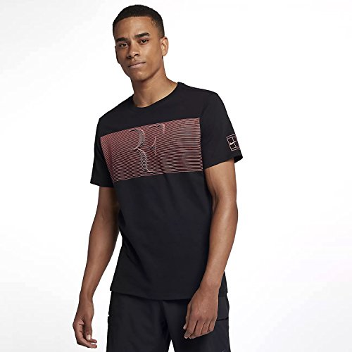 Nike Herren Rafa Court Kurzarm T-Shirt, Black/(Lava Glow), M (Glow Kurzarm-t-shirt)