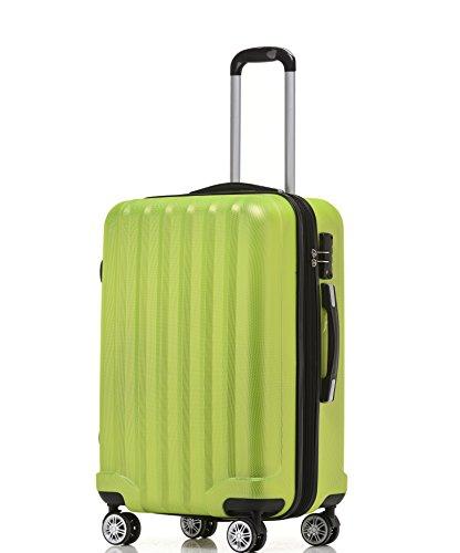 BEIBYE TSA-Schloß 2080 Hangepäck Zwillingsrollen neu Reisekoffer Koffer Trolley Hartschale Set-XL-L-M(Boardcase) (Grün, M)
