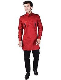 Veera Paridhaan Men's Solid Red Cotton Kurta