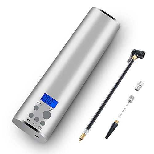Kompressor Auto, PinShang Elektrische Luftpumpe Autoreifen mit Wiederaufladbarer Akku, Digitalem Manometer und LED-Lampe