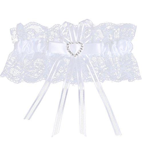 YiZYiF Spitze Strumpfband zur Hochzeit Brautaccessoire für alle Damen Strumpfbänder in 7 Farben Weiß One Size (Damen Strumpfbänder Satin)