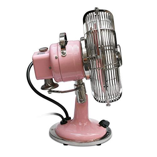 Tischventilator, Vintage Metal Electric Fan/Desktop Haushalt Silent Mini Tischventilatoren/Antique Shaking Head/Energieeinsparung GAOFENG (Color : Pink, Size : 23 * 15 * 32 cm) -