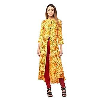 HOMA Casual Self Design Women's Kurti (Orange) (Medium)