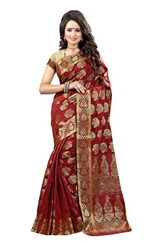 Shonaya Women`S Maroon Colour Jacqurad Silk Woven Work Saree With Unstitched Blouse...