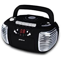 Groov-e Retro Boombox CD Player with Cassette, AM &FM Radio Tuner, 3.5mm AUX in Socket for Smartphones & LED Display - Black