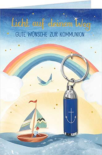 Grußkarte - Licht auf deinem Weg - Gute Wünsche zur Kommunion: Mit Taschenlampen-Anhänger (Blau/Anker)