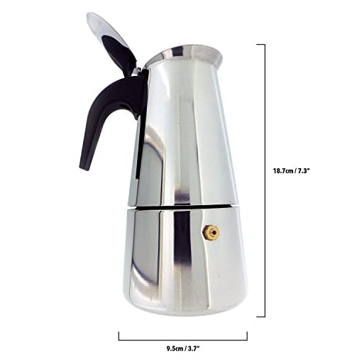 6-Cup Stovetop Espresso Maker Italian Moka Coffee Pot – Polished Stainless Steel Coffee Percolator with Permanent Filter…