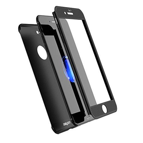 NOHON iPhone 7Plus Fall, Full Body [2] Ultra Slim/dünn leicht atmungsaktiv kühlende Mesh Fall, Harte PC Kunststoff Schutzhülle w/Displayschutzfolie aus gehärtetem Glas für iPhone 7Plus, schwarz