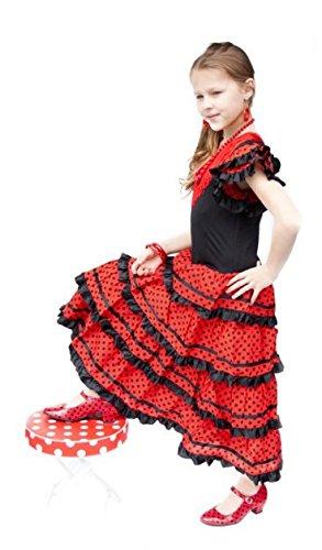 La Senorita vestito Flamenco spagnolo Costume - per ragazza bambini - nero  rosso 9 10 anni fb77948c3e7