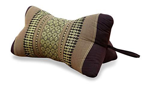 Livasia Nackenkissen, Ergonomisch geformtes Nackenstützkissen (Knochenkissen) aus Kapok, asiatische Nackenrolle als Nackenhörnchen oder Nackenkissen (braun) -