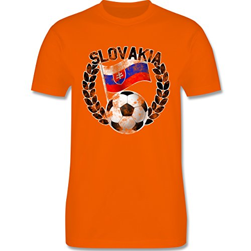 EM 2016 - Frankreich - Slovakia Flagge & Fußball Vintage - Herren Premium T-Shirt Orange