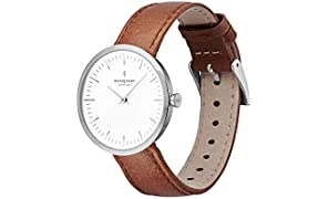 Nordgreen Infinity Scandinavian Silver Unisex Analogue 40mm (Large) Watch with Brown Leather Strap 10044