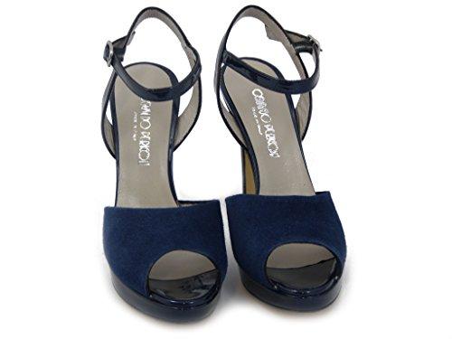 OSVALDO PERICOLI, Elegante Sandale, Wildleder -Schuh mit Ferse 10 cm. und 1,5 cm Plateau. - Sommer 143t100 dunkelblau