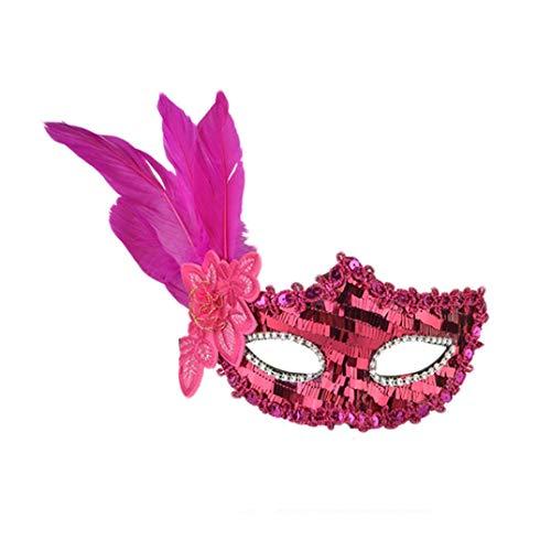 Halloween Masken , Prevently Tanzparty Maske Feather Pailletten Elegante Augenmaske Maskerade Ball Karneval Fancy Party Halloween Geburtstagsfeier Prop Weihnachten Geschenk Feder Streifen Pailletten Gestickte Maske (Hot Pink)