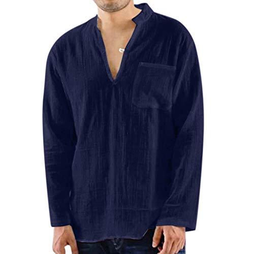 Luckycat Herren Leinenhemd leinen Shirt Langärmelig Hemden mit Stehkragen Kurze Knopfleiste weiß Navy blau Slim fit für Herren Yoga Hemd Goa Hemd Herren Baumwolle Männerhemden Alternative Bekleidung -