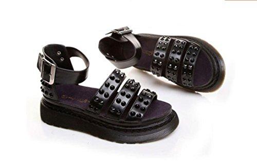 Chaussures cuir Cuir rivet gâteau lourd bas Rome femmes bas à fond plat pour une confortable sandales casual Black
