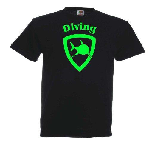 Diving Shark T297 Unisex T-Shirt Textilfarbe: schwarz, Druckfarbe: neongrün