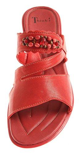 Think! 4-84177 Ciabatte Scarpe ESTIVE Scarpe in Pelle Donna Rosso