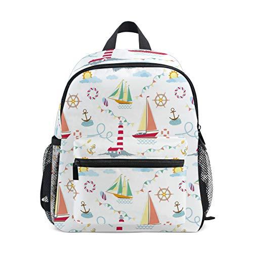 CPYang Kinder Rucksack Anker Leuchtturm Segelboot Schultasche Kindergarten Kleinkind Vorschulrucksack für Jungen Mädchen Kinder Jungen Anker