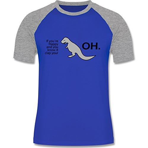 Sprüche - Dino Happy - OH - zweifarbiges Baseballshirt für Männer Royalblau/Grau meliert