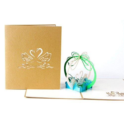 kalttoy 3D Pop up Swan Grußkarten Weihnachten Geburtstag Valentine Einladung