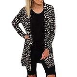 Manadlian Damen Beiläufig Leopard Gedruckt Öffnen Kap Mantel Lose Hülse Kimono Strickjacke