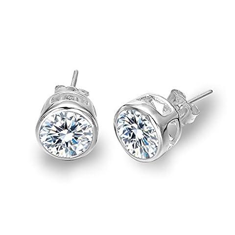 Clearine Women's 925 Sterling Silver Elegant Cubic Zirconia Round Basket Set Solitaire Pierced Earrings Clear