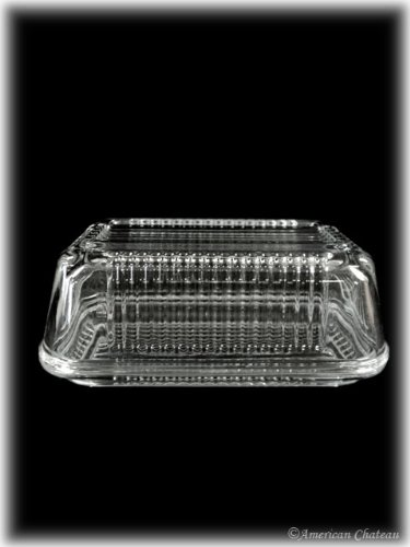 1 lb Tempered Glass Oval Covered Butter Dish Gift Box by American Chateau Turkey Covered Dish