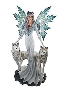 Grande figurine elfe Figurine élégant avec 2loups blancs Fée Fairy
