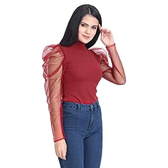 DIMPY GARMENTS BuyNewTrend Carrera Plain Net Top for Women