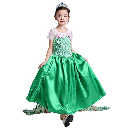 Lonchee Kleine Mädchen Eiskönigin Prinzessin Anna Kleid Kostüm,Cosplay Weinachten Halloween Geburtstag Karneval Verkleidung Party Kinder Fancy Kleid Fest Kleid (Ballerina Grüne Hexe Kostüm)