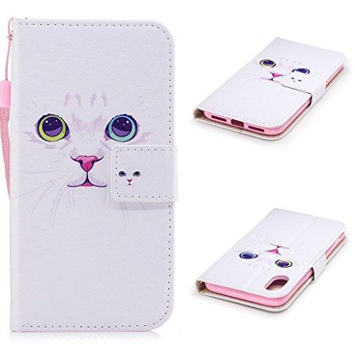 iPhone 8 Coque, Fodlon® Mode Peint Carte Machines à Sous avec Cordon Téléphone Case -Chat Blanc chat blanc