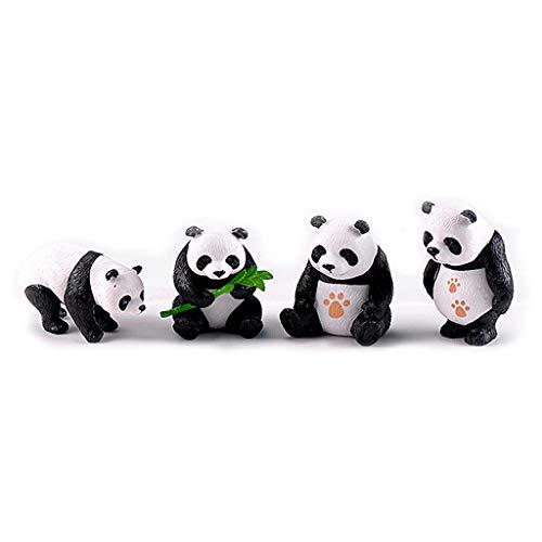 Junlinto, Miniature Résine Pandas Mini Jardin Plante Fleurs Pot Bonsaï Dollhouse Décoration Noir + Blanc S
