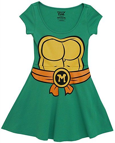 Tmnt Frauen Kostüm - Teenage Mutant Ninja Turtles Michelangelo Kostüm Skater Dress (Damen Medium)