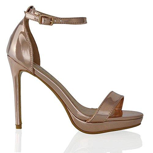 ESSEX GLAM Scarpa Donna Oro Metallizzato Peep Toe Tacco Alto Allacciatura Caviglia EU 37