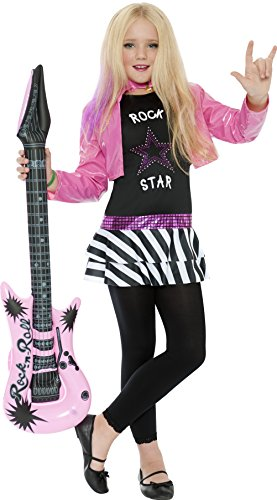 Children's Rockstar Costume (3 Sizes) -A low-cost, fun and colourful 80s style outfit which includes Top and attached zebra print style skirt with jacket. Please note that the leggings and guitar are not included.