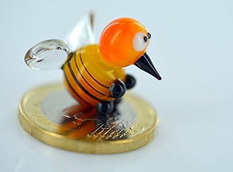 Biene - Miniatur Figur Honigbiene mit Flügel aus Glas - Glasfigur Glücksbringer Mini 8-k2 Glastier Deko Setzkasten
