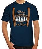 ShirtStreet Gaudi Wiesn Oktoberfest Herren Männer T-Shirt Rundhals Meine Lederhose ist in der Wäsche, Größe: S,dunkelblau