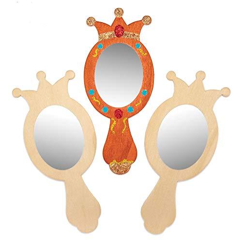 Baker Ross- Decora tu Propio Espejo de Mano de Princesa de Madera Pack de 4 - Manualidades con Espejo...