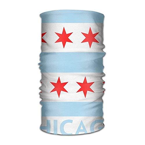 h Chicago Flag Quick Dry Microfiber Headwear Outdoor Magic Bandana Neck Gaiter Head Wrap Headband Scarf Face Mask Ultra Soft Elastic Handscarf ()