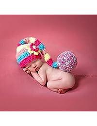 Reixus (TM) du nouveau-n¨¦ b¨¦b¨¦ color¨¦ Crochet Knit balle Long Tail joli chapeau Photo Photographie Props mignon Cotume pour gar?ons et filles de b¨¦b¨¦