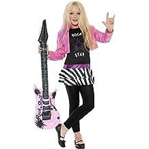Smiffy's - Disfraz de rockero para niña, talla L (10 - 12 años) (36334L)