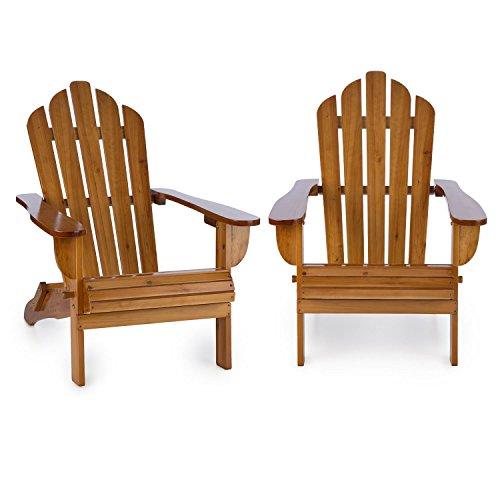 Blumfeldt Vermont Gartenstuhl 2er Set (max. 150 kg Belastung, geneigte Sitzfläche, hohe Rückenlehne, breite Armlehne, witterungsbeständig, Adirondack-Stil, Tannenholz) braun