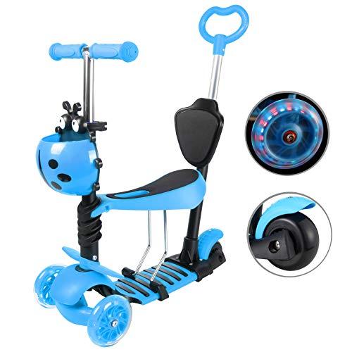 Yorbay Kleinkinder Kinder Scooter Roller 3-in-1 3 Räder Mini Kinderscooter Kinderroller Kinder Tretroller mit Abnehmbarem Sitz Leuchtrollen und Verstellbare Lenker für Jungen Mädchen ab 1 Jahre (Blau)
