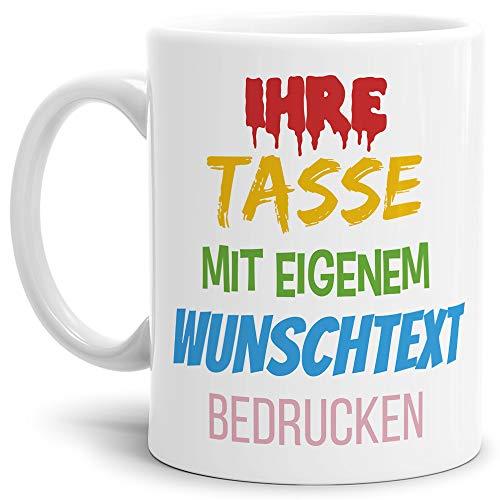 Tasse selbst gestalten/mit eigenem Text beschriften/Wunsch-Name/Spruch-Tasse/Weiß - Glanz/Links & Rechts vom Henkel Bedruckt