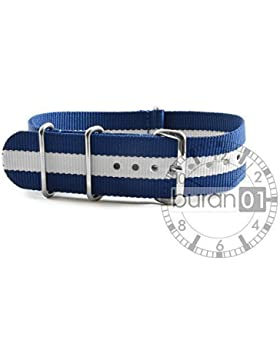 Original von Buran01.com Militär Nylon Uhrenarmband Blue/White 22mm WATCH STRAP
