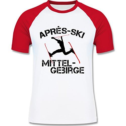 Après Ski - Apres Ski Mittelgebirge - zweifarbiges Baseballshirt für Männer Weiß/Rot
