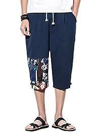 Zhhlinyuan 3 4 Pantalones Cortos para Hombres Pantalon Lino Cintura  Elástica Pantalones Cortos Deportivos Regular fb8acce845c4