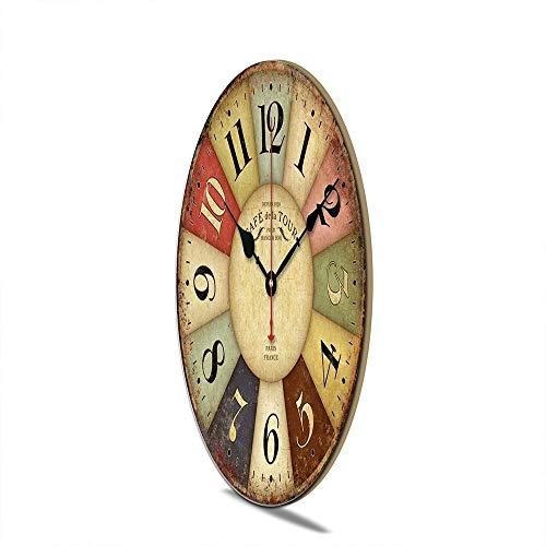 Orologio da Parete in Legno Vintage,30 cm Orologio Numerico Grande in Legno Retro,Silenzioso No Tick Tack Rumore Orologio da Parete per Cucina,Soggiorno Decorazione - 4